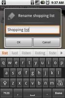 OI Shopping Add New List