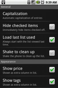 OI Shopping Settings Menu