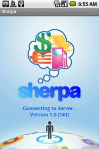 Sherpa Start Screen