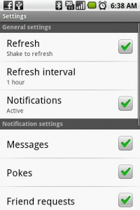 Facebook for Android Settings Menu