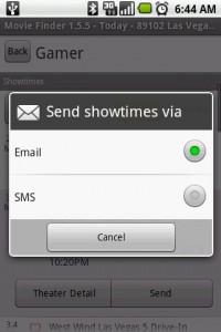 Movie Finder Send/Share Movie Information