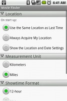 Movie Finder Settings Menu