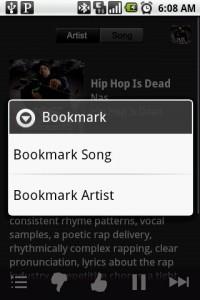Pandora Internet Radio Bookmarking Features