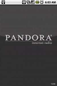 Pandora Internet Radio Start Screen