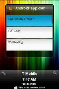 FlyScreen RSS from AndroidTapp