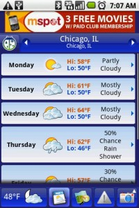 Weather Bug 7 Day Forcast