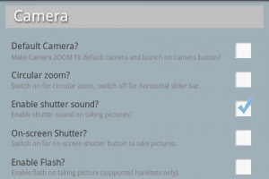Camera Zoom FX Settings Menu
