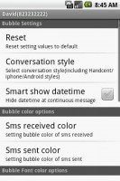 Handcent SMS Personalization Settings