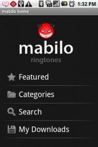 Mabilo Ringtones Home Screen