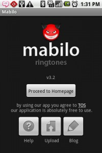 Mabilo Ringtones Start Screen