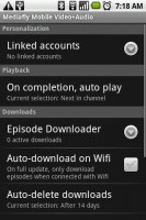 Mediafly Video Audio Podcasts - Options Menu
