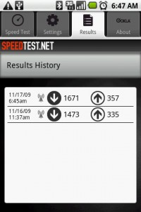 SpeedTest Results History