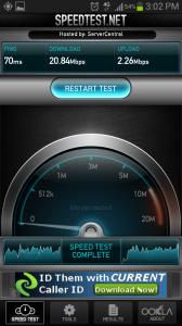 Speedtest.net Mobile Internet Speed Test Results