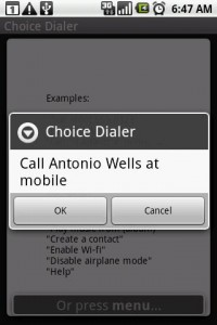 Choice Dialer Call Command Found Options