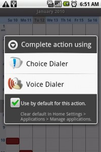 Choice Dialer as Default Phone Longpress Option