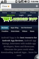 Dolphin Browser Viewing AndroidTapp Mobile Website