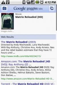 Google Goggles Identified DVD