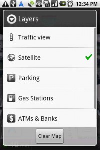 Google Maps Navigation Layers Options