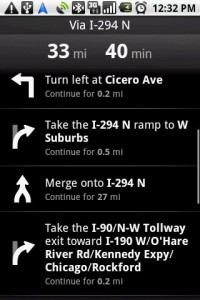 Google Maps Navigation Route Directions