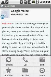 Google Voice Message Options