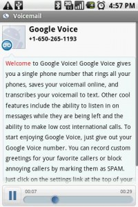 Google Voice Message with Transcription