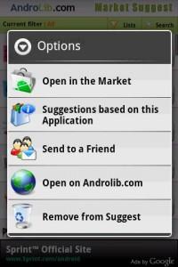 Market Suggest App Options on Longpress