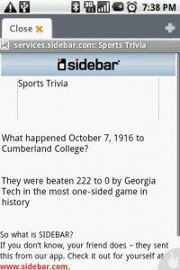 Sidebar Sports Trivia in Browser