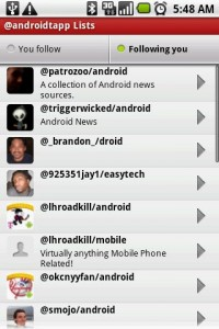 Seesmic Twitter App Lists Following You