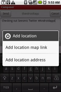 Seesmic Twitter App Location Tweeting Options
