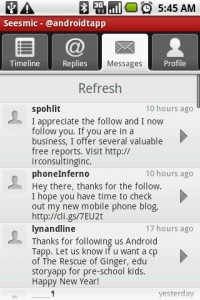 Seesmic Twitter App Messages