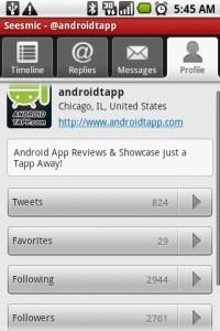 Seesmic Twitter App Profile