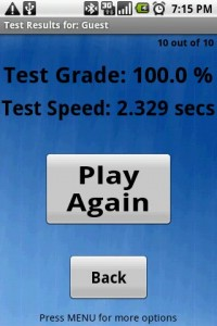 MathWizard Test Grade and Speed
