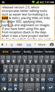 WordPress for Android Bold Text Formatting