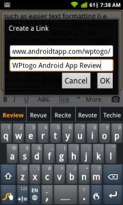 WordPress for Android Create Links with Titles