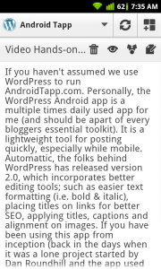 WordPress for Android Draft Post Preview