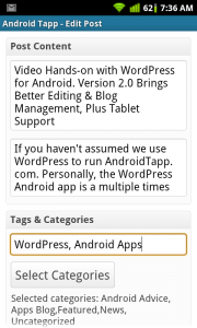 WordPress for Android Edit Post