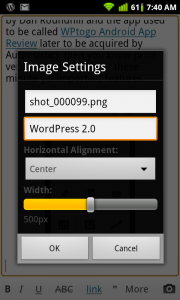 WordPress for Android Image Settings Options