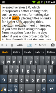 WordPress for Android Italic Text Formatting
