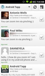 WordPress for Android Moderate Comments
