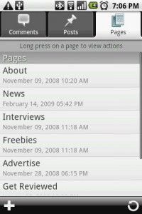 WordPress for Android Pages