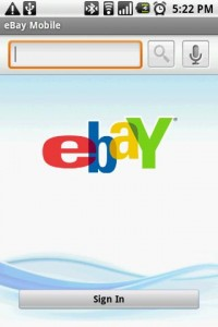 eBay Mobile Start Screen