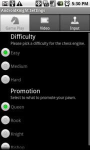 AndroidKnight 3D Chess Settings Game Play