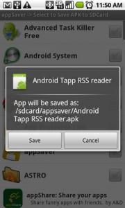 AppSaver Longpress Options