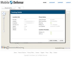 Mobile Defense Online Tracking Details
