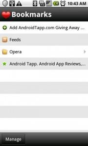 Opera Mini 5 Web Browser Bookmarks