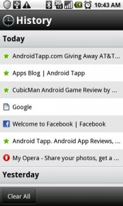 Opera Mini 5 Web Browser History