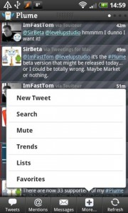 Plume for Twitter Quick Options