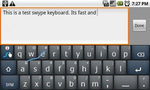 Swype Keyboard Writing in Landscape Mode