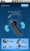 BlueAnt Q1 Android Application Home Screen