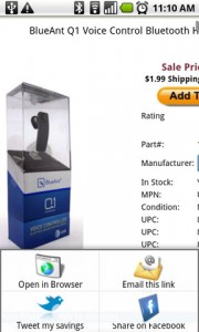 CNET Scan & Shop Product on Compared Website